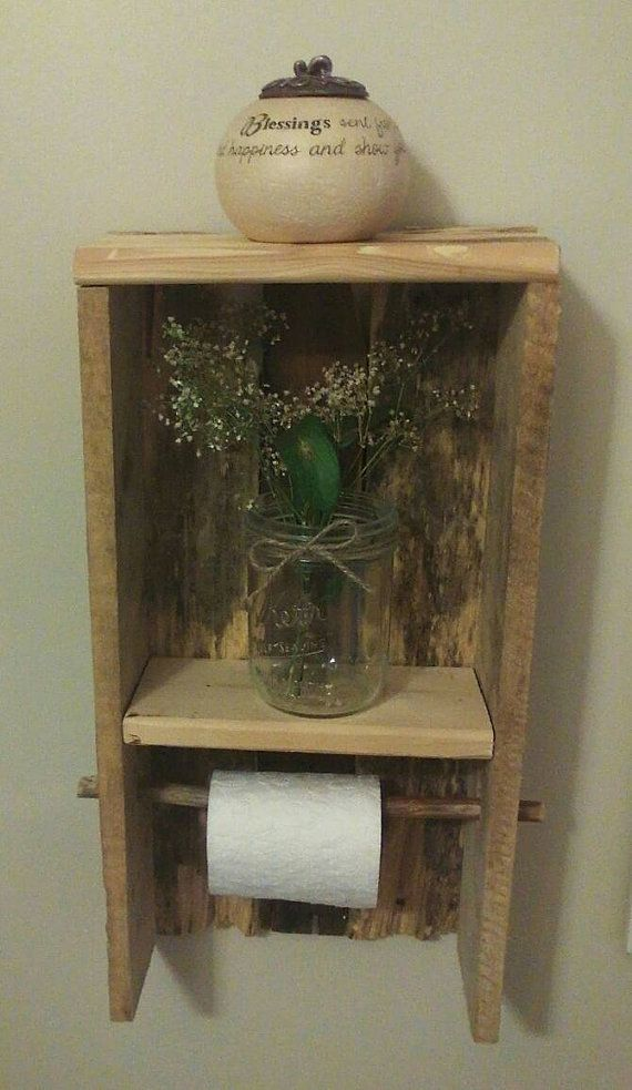 Rustic bathroom toilet paper holder with added shelf