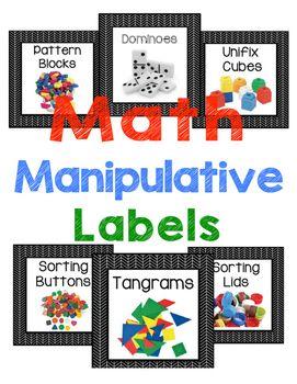 Math Manipulative Labels - Black and White