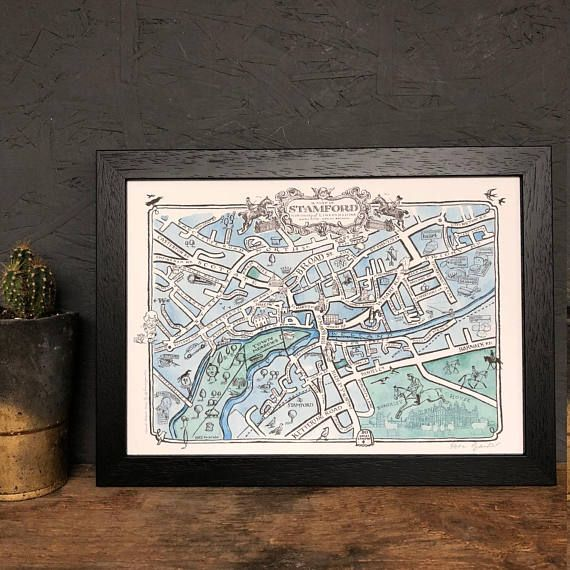 Hand-drawn map Stamford map Lincolnshire Map of Stamford Gift for the home Kitchen wallart Art for the home Stamford