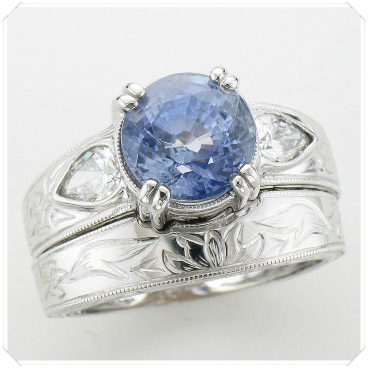 Matching Set - Custom Rings + Sapphire + Diamonds + Hand-engraved + Custom Band = So beautiful! #wedding #ring #jeweler #ithaca