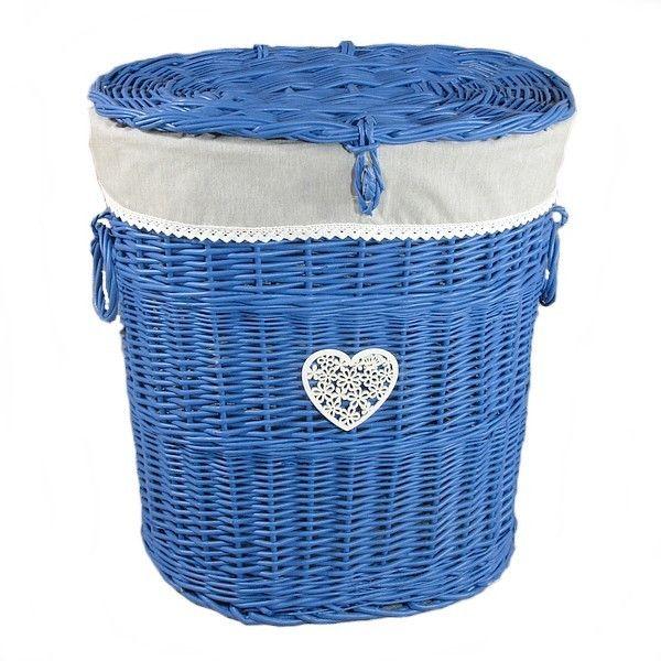Wiklinowy kosz, niebieski obszyty materiałem wzór - melanż + serce