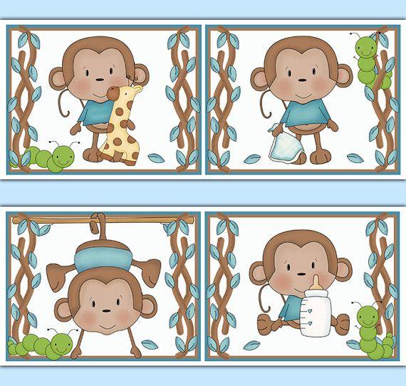 MONKEY WALLPAPER BORDER Decal Wall Art Boy Safari Animals Nursery Stickers Decor Kids Jungle Room Childrens Hanging Swinging Monkey Bedroom #decampstudios