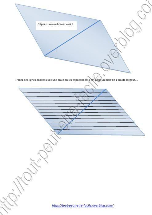 Poser l'ensemble obtenu à plat comme sur la photo et dessiner avec une craie des lignes tous les 4 cm