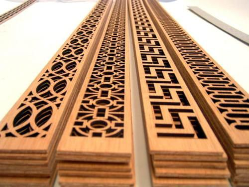 Wooden fretwork panels to overlay on furniture (over glass for bedside table/chest of drawers)