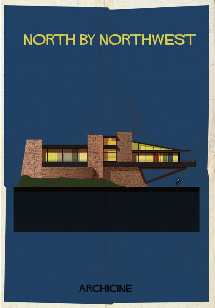 ARCHICINE: Illustrations of Architecture in Film - Federico Babina / North by Northwest. Directed by Alfred Hitchcock