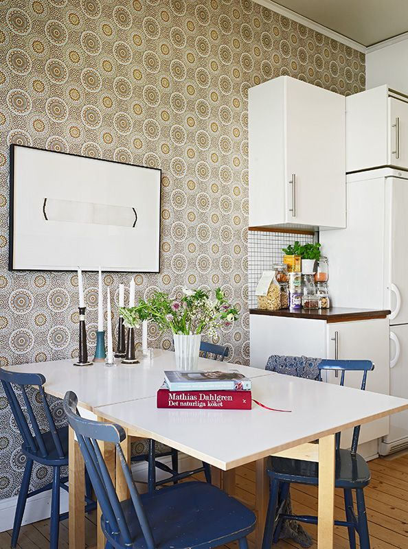 Kitchen - white table - blue chairs