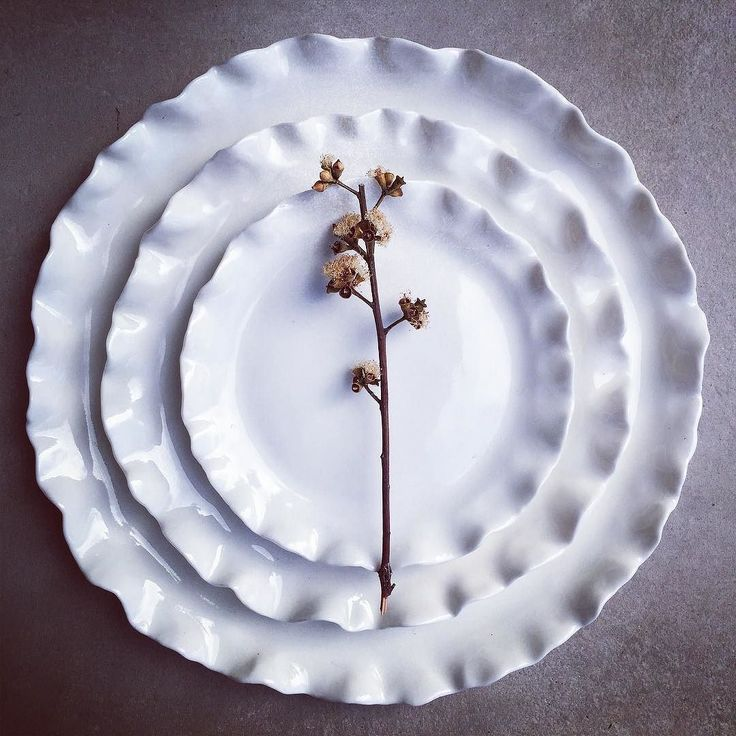 Set of 3 porcelain ruffle plates  #white #bespoke #handcrafted #handmade #keramik #pottery #ceramics #ceramicstudio #ceramicplate #australianceramics #australiandesign #porcelainplate #nicolahartstudios #lumina #porcelain #sydneymade #etsy