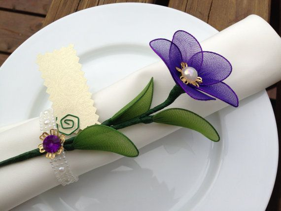 Purple nylon flower napkin ring / place card holder, wedding favors/ mother's day, pla... $2.75