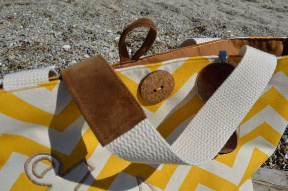 Anchor Canvas Bag Nautical Yellow Chevron Handbag by bLifebySonya