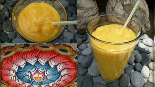 Lassi à la mangue  Le lassi est une boisson traditionnelle indienne à base de lait ! Elle existe en plusieurs versions, mais à la mangue, c'est un délice !
