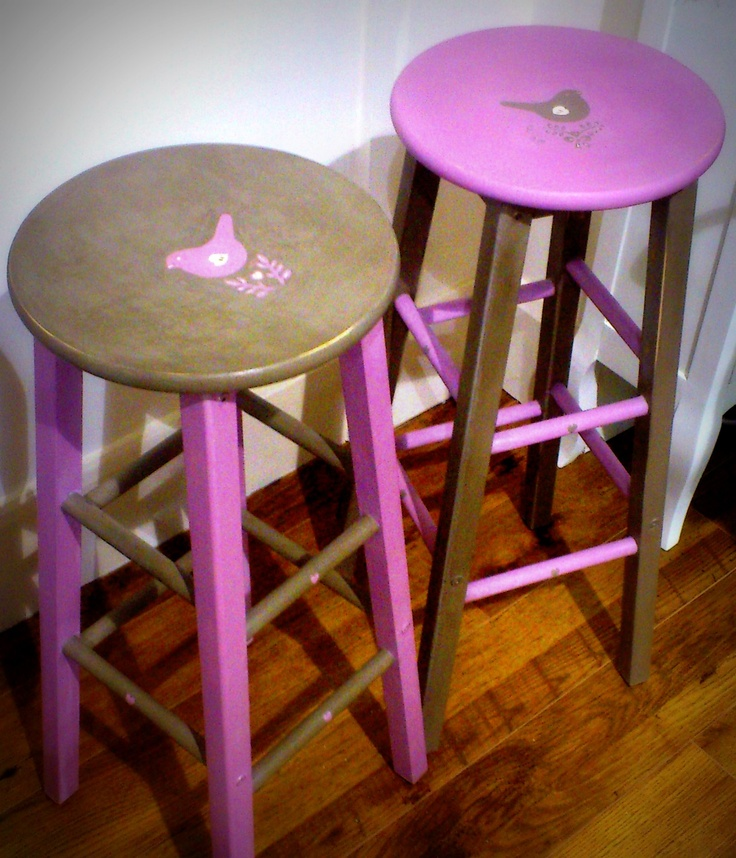 A pair of High Stools I have Painted Using Annie Sloan Chalk Paints in Henrietta & Coco