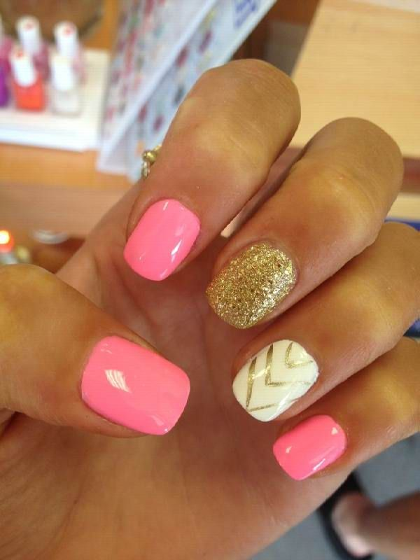 White Acrylic Nails With Gold - http://www.mycutenails.xyz/ - Best 25+ Cute Acrylic Nail Designs Ideas On Pinterest Simple