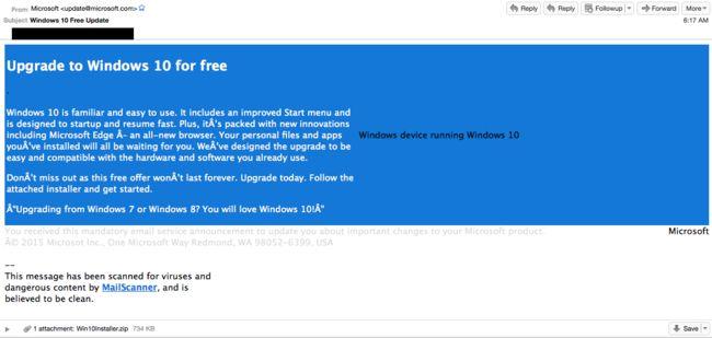 ¡Cuidado con esta actualización a #Windows10! Ya de por si Windows es peligroso, pero se trata de un malicioso mensaje de correo con una supuesta actualización del SO http://www.xatakawindows.com/windows/cuidado-este-correo-falso-para-actualizar-a-windows-10-en-realidad-pone-en-riesgo-tu-pc