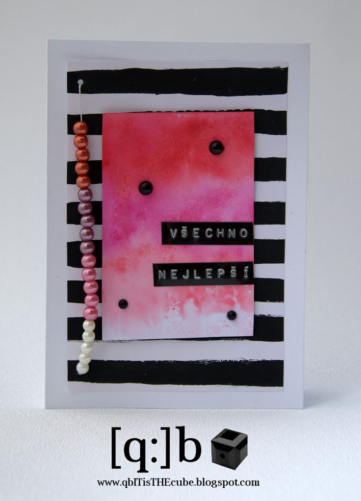 card with watercolor ombre and ombre beads [q:]b ■ ...it´s THE cube