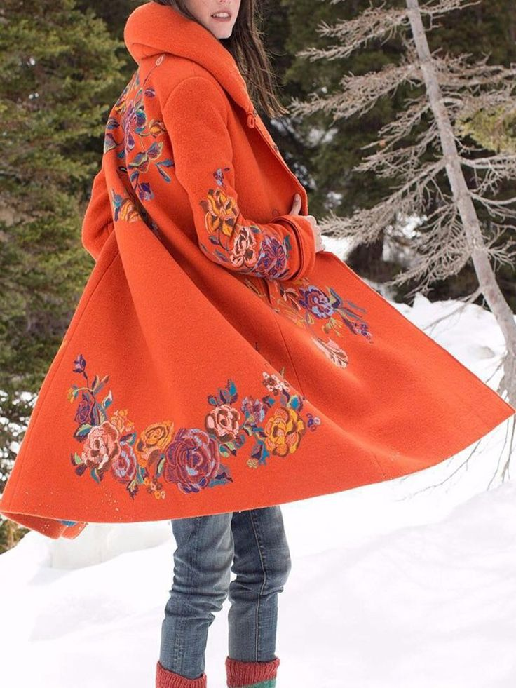 Women Coat Vintage Floral Cotton-Blend plus size 9