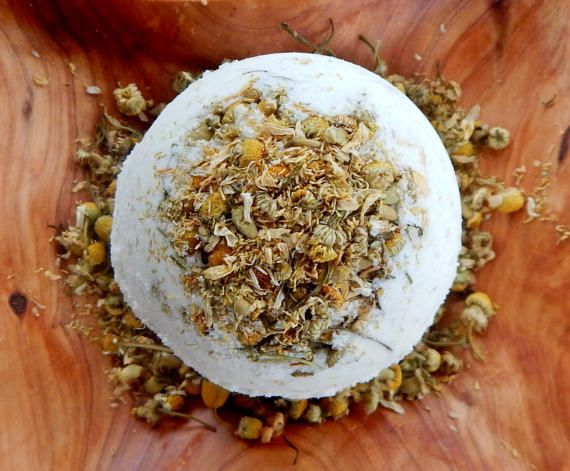 Orange Chamomile Bath Bomb-Sweet Orange Essential Oil-Organic Bath Bomb-Natural Bath Bomb-Bath Fizzie-Dried Chamomile-Essential Oils Bath-