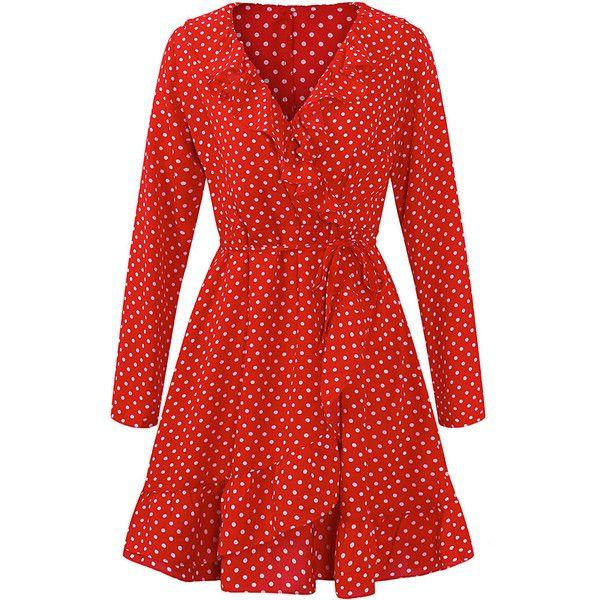 Gracila Bohemian Polka Dots Printed Long Sleeve V-neck Mini Dresses ($23) ❤ liked on Polyvore featuring dresses, short red dress, mini dress, bohemian dresses, long sleeve short dress and polka dot dress