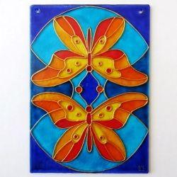"""Ručně malovaná vitráž - """"Motýlí Duet"""" (10x15 cm) Hand Painted Stained Glass""""Motýlí duet"""""""