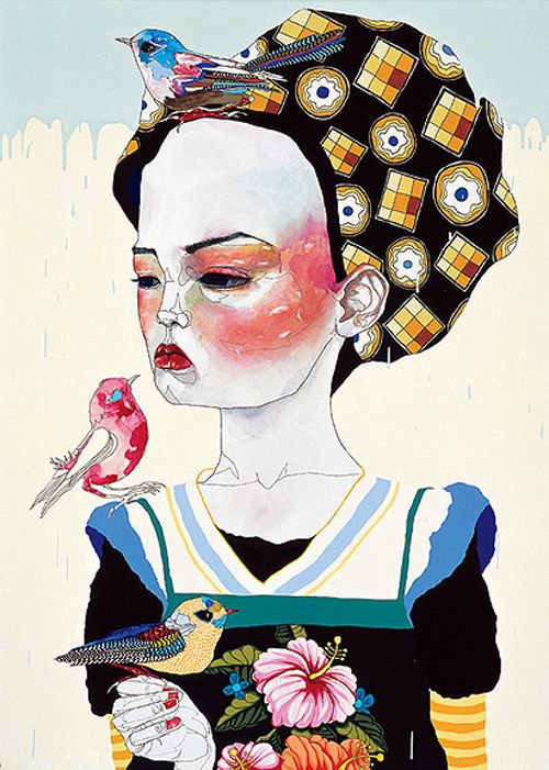 Del Kathryn Barton Australian Artist Fashion Style Design Art Inspiration Daily Blog Gallery Print Peachy Women Birds Illustration Animals Surreal