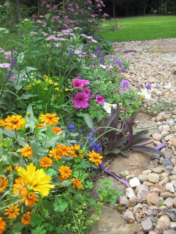 Notice the different sizes of stone in use as a border and pathway.