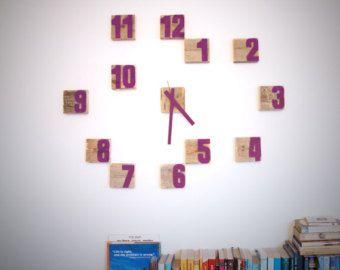 Houten muur klok Block Clock Rozenkwarts klok Graffiti