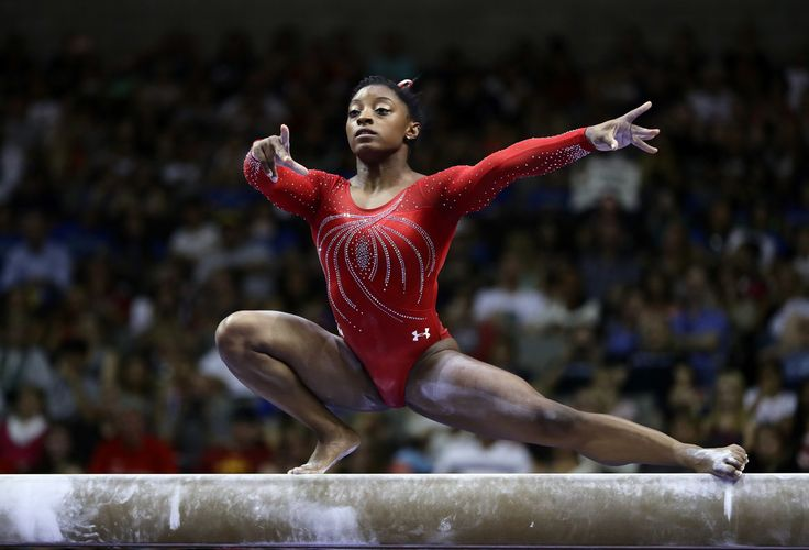 Simone Biles competes on the balance beam during Day 2 of the 2016 U.S. Women's Gymnastics Olympic Trials at SAP Center on July 10, 2016 in San Jose, California.