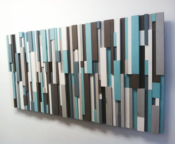 Wood wall sculpture rustic wall art modern wood by for Blue and brown wall art