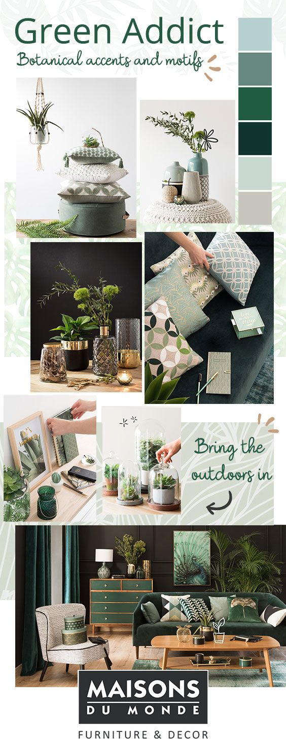 Autumn/Winter 2017 New Look | Green Addict | Maisons du Monde | Jam packed with botanical accents, leafy prints, natural materials, evergreen shades and touches of gold | From sofas to chairs, lighting to mirrors, shop furniture, interiors and home accessories