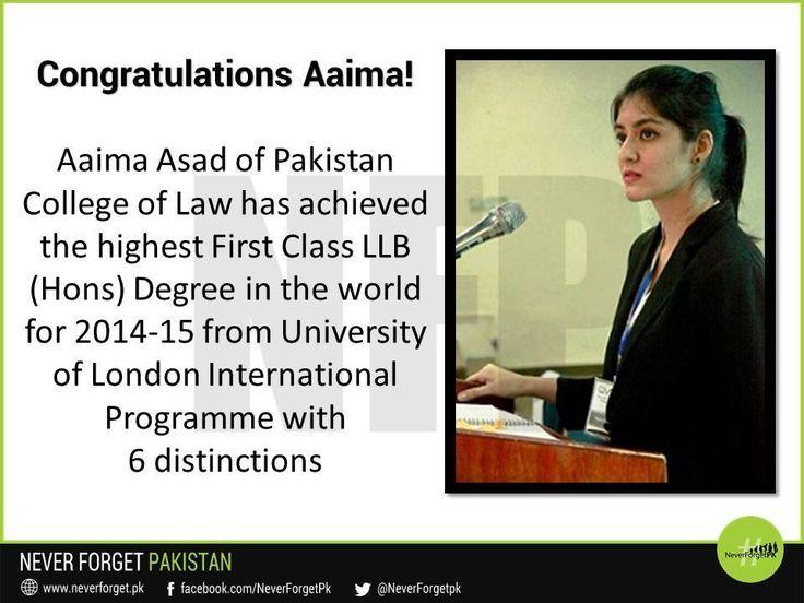 Aaima Asad, a Pakistani student earns the highest First Class LLB - first class degree