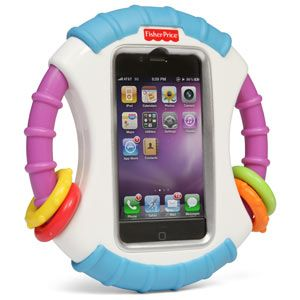 Finally!!!!!!!    Laugh & Learn Baby iPhone Case    •Protects your iPhone or iPod from disaster   •Lets your wee one play learning games   •Blocks the Home button; prevents baby dialing!    Seriously!  Lol!