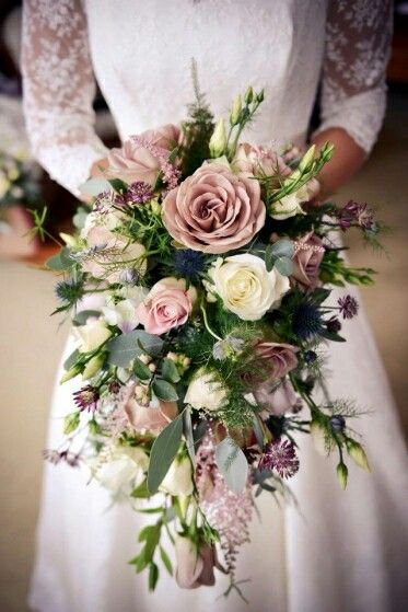 Romantic Cascading Wedding Bouquet: Mauve (Lavender) Roses, White Roses, Lisianthus Buds, Purple Astrantia, Blue Eryngium Thistle, Greenery & Foliage