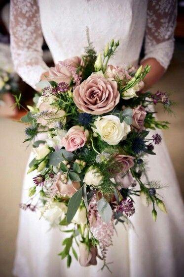 Romantic Cascading Wedding Bouquet: Mauve (Lavender) Roses, White Roses, Lisianthus Buds, Purple Astrantia, Blue Eryngium Thistle, Greenery & Foliage