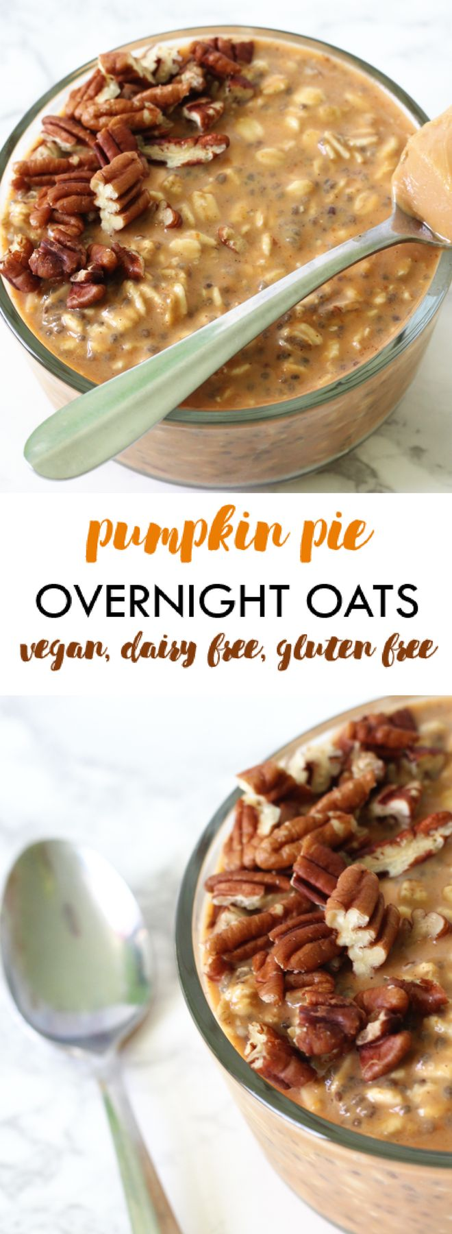 Pumpkin Pie Overnight Oats | get in the fall season with PUMPKIN pie overnight oats! Easy to prep the night before and enjoy in the morning alongside a cup of coffee | dairy free gluten free vegan meal prep overnight oats fall | Lean, Clean, & Brie