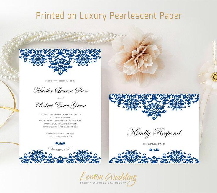Royal blue wedding invitation kits printed on shimmer paper | Traditional invitation with RSVP postcard | Lace wedding invites by LemonWedding on Etsy https://www.etsy.com/listing/244084331/royal-blue-wedding-invitation-kits
