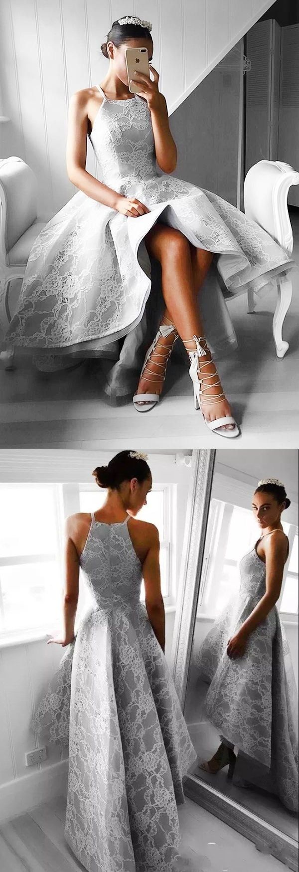 Charming High Low A Line Spaghetti Straps Long Gray Lace Prom Dress #highlowpromdress #graypromdresses #prom #dresses #longpromdress #promdress #eveningdress #promdresses #partydresses #2018promdresses