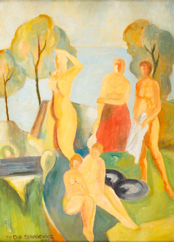 MARIA ŁUNKIEWICZ-ROGOYSKA (1895 - 1967)  KĄPIĄCE SIĘ, 1957   olej, tektura / 50,5 x 35,5 cm