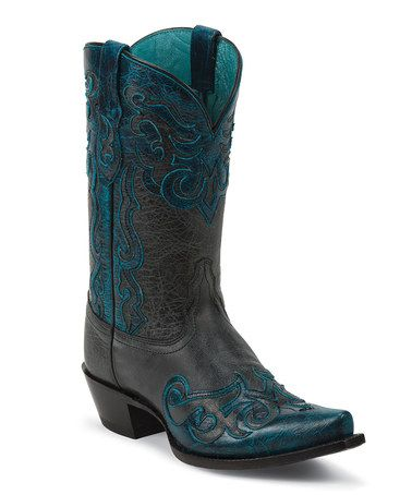 Another great find on #zulily! Black Lasso Leather Cowboy Boot - Women by Tony Lama #zulilyfinds