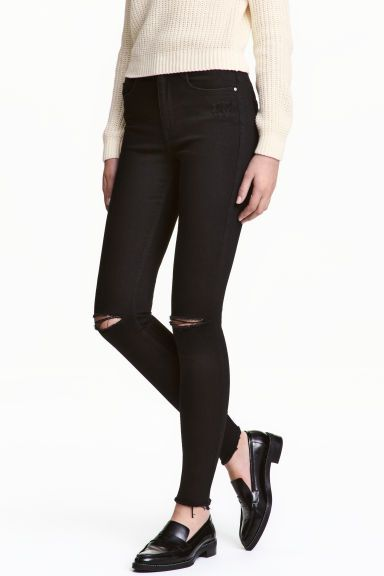 Skinny High Ankle Jeans - Black denim - Ladies | H&M CA 1