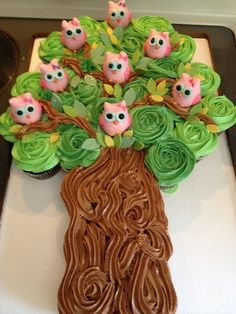 Cupcake cake with owl pops in the tree. (This is a pic only but all you do is use your own recipe for the cupcakes and then add green food coloring to the frosting you are making the leaves in the tree. The chocolate frosting for the trunk of the tree. Make owl pops and stick them in randomly. There are lots of recipes for owl pops on Pinterest) Fun idea!