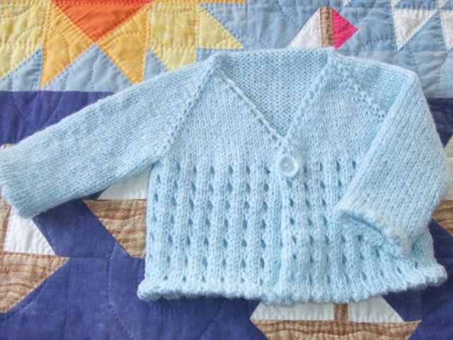 Free Knitting Pattern - Baby Sweaters: Baby Eyelet Cardi
