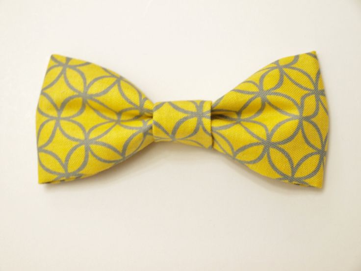 Grey Yellow Bow Tie Photo Prop. Gray Photography Prop. Infant bow tie. baby tie. boy Photo Prop Circle design. $4.50, via Etsy.