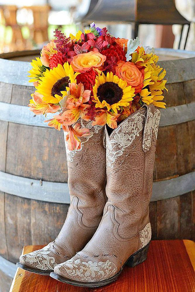 Cowgirl Boots Wedding Ideas For Country Weddings ❤ See more: http://www.weddingforward.com/cowgirl-boots-wedding-ideas/ #weddings