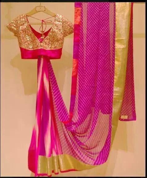 Fuschia Pink Lehariyaa saree with gold border with pretty gold blouse