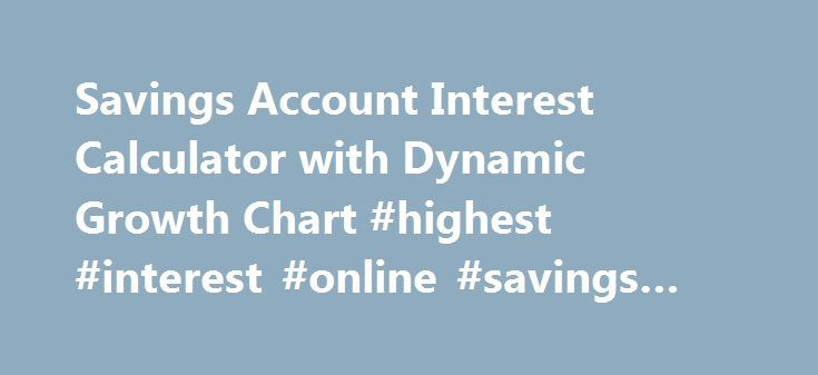 Savings Account Interest Calculator with Dynamic Growth Chart #highest #interest #online #savings #account http://honolulu.remmont.com/savings-account-interest-calculator-with-dynamic-growth-chart-highest-interest-online-savings-account/  Savings Account Interest CalculatorWith Compound Interest Calculation Help you to forecast the future compound interest earnings on your regular saving account deposits. This free online Savings Account Interest Calculator will calculate the compound…