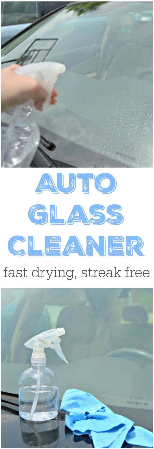 Homemade Auto Glass Cleaner - This fast drying car window cleaner will leave your windows clean and streak free!