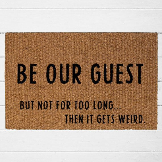 Be Our Guest Doormat Welcome Mat Outdoor Rug by UrbanOwlCoShop