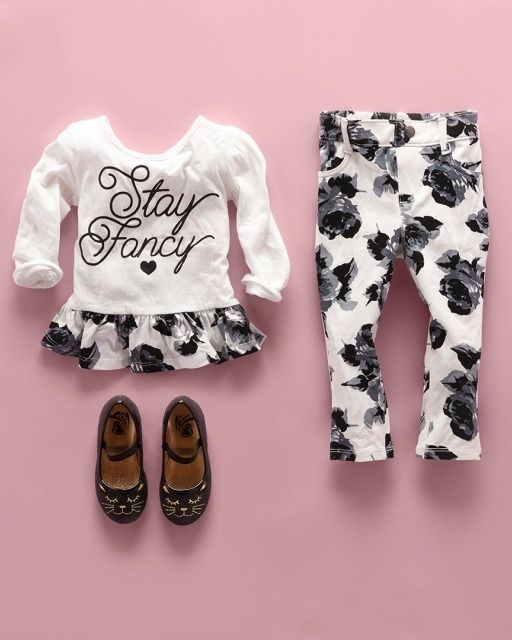 """""""Stay fancy""""   Toddler girls' fashion   Kids' clothes   Embellished printed ruffle top   Printed jeggings   Cat shoes   The Children's Place"""