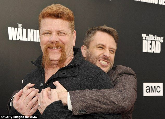 Consolation: Talking Dead host Chris Hardwick (right) gave Cudlitz a hug of his own ...