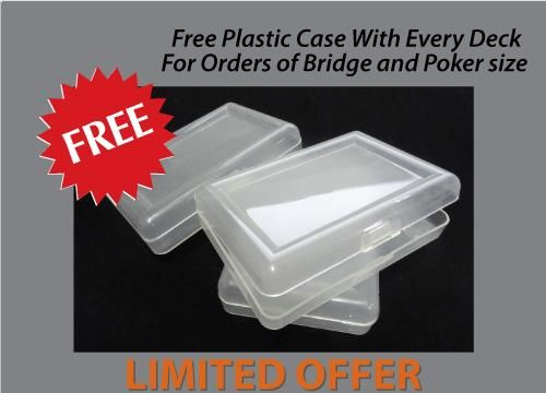 Place an order for playing cards online from anywhere in the world and GET PLASTIC CASE BOX FOR EACH DECK FREE at the TMCARDS playing cards manufacturing company. This offer is available only for bridge and pokers sized decks of cards.