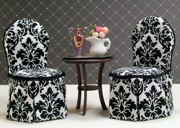 Dollhouse Miniature Upholstered Dining Room Chairs Black White Damask Set Four One Inch Scale 14000